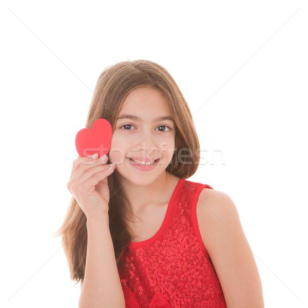 Stock fotó: Boldog · gyermek · szív · piros · szeretet · gyerekek