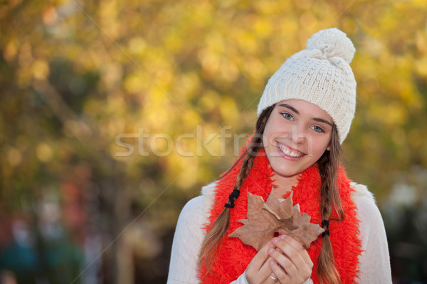 happy teen in warm woolie cloths Stock photo © godfer