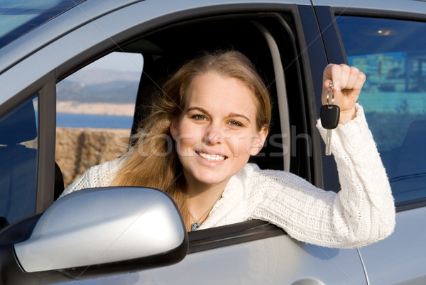 woman with new car, hire or rental Stock photo © godfer