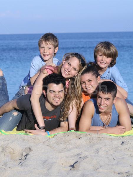 Stock fotó: Nagycsalád · gyerekek · ünnep · vakáció · gyerekek · tenger