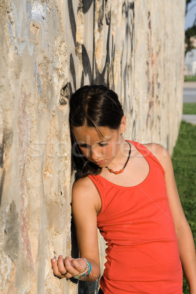 sad lonely unhappy bullied child alone Stock photo © godfer