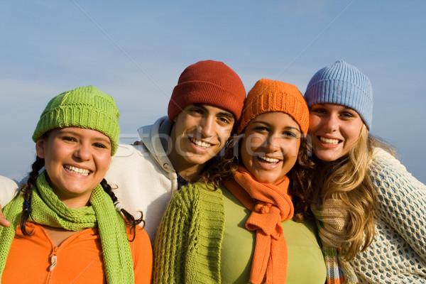 Stock fotó: Boldog · csoport · félvér · gyerekek · fiatalság · tinédzserek