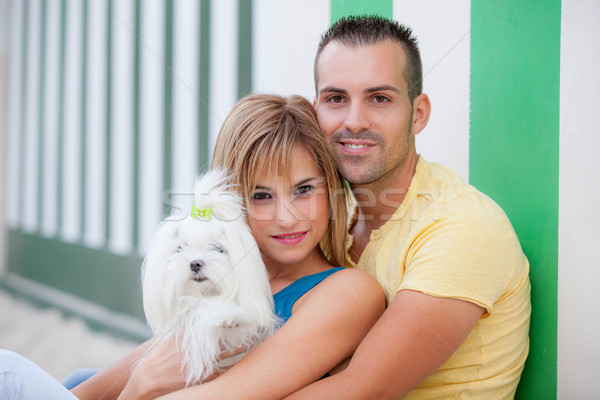 couple with pet dog Stock photo © godfer