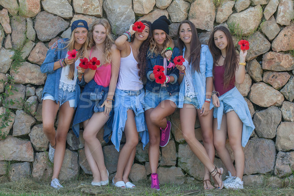 Mode denim adolescents heureux groupe femmes Photo stock © godfer