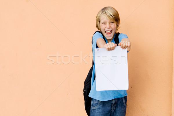 Diák mutat iskola jelentés kártya passz Stock fotó © godfer