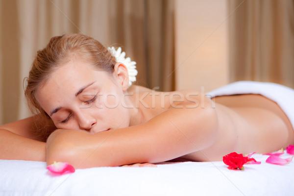 Fürdő nő megnyugtató masszázs lány kezek Stock fotó © godfer
