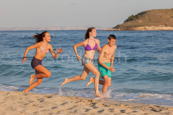 Stock Photo Healthy Kids Running Race On Beach