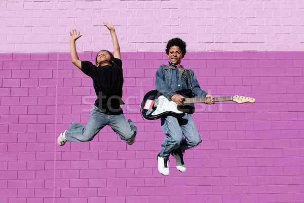 happy african descent kids playing music  Stock photo © godfer