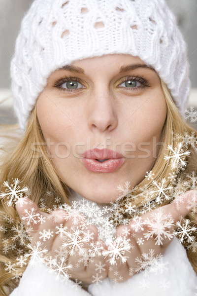 Stock photo: christmas holiday woman blowing snow and new year wishes