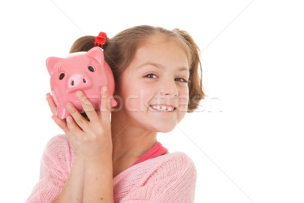 çocuk tasarruf kumbara bankacılık kız gülümseme Stok fotoğraf © godfer