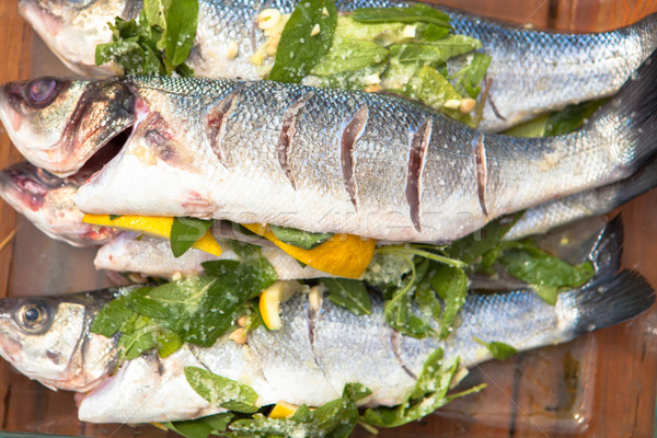 Hazır deniz bas balık pişirme sağlık Stok fotoğraf © godfer