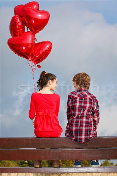 Valentin nap pár boldog gyerekek piros fiú Stock fotó © godfer
