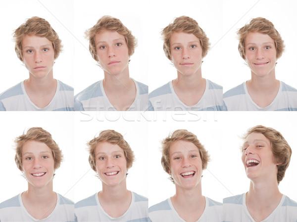 Különböző kifejezések boldog mosolyog szomorú nevet Stock fotó © godfer
