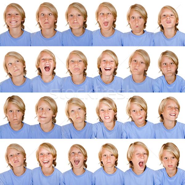 Expressions faciales enfants enfant garçon visages jeunes Photo stock © godfer