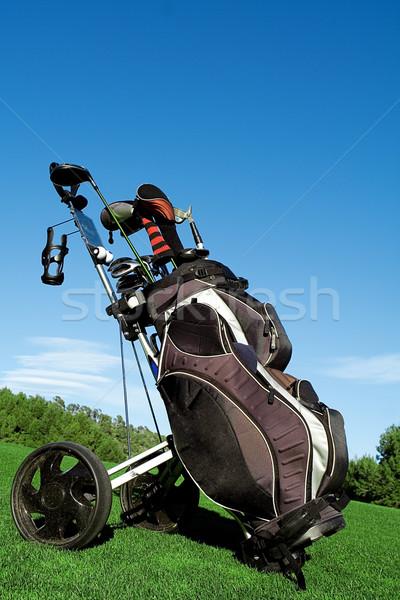 Sac de golf golf équipement golf sport Photo stock © godfer