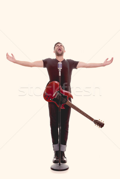 male singer with guitar Stock photo © godfer