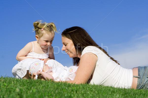 Anya gyerekek család szeretet jókedv fiatal Stock fotó © godfer