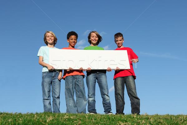 Zdjęcia stock: Grupy · różnorodny · dzieci · biały · podpisania