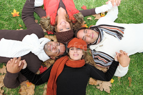 diverse autumn group of happy young people Stock photo © godfer