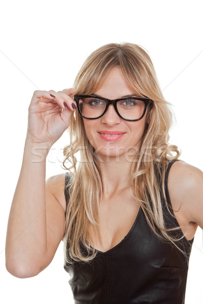 woman wearing black generic glasses Stock photo © godfer