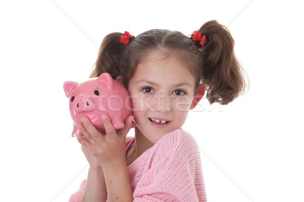 child with piggy bank money box Stock photo © godfer