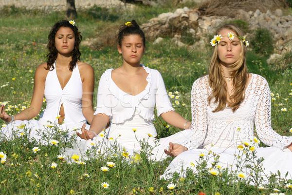 Yoga méditation jeunes hippies femmes nature Photo stock © godfer