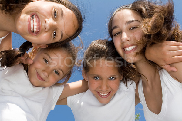 summer camp, happy group of smiling, girls kids or children Stock photo © godfer