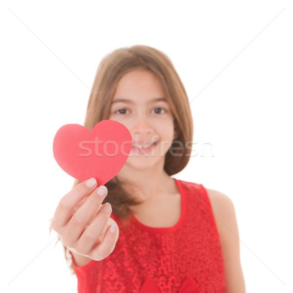 Stock fotó: Lány · szív · fiatal · valentin · nap · fókusz · szeretet