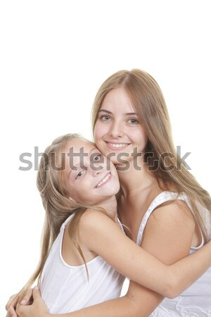 Nővérek testvérek család lány gyerekek szeretet Stock fotó © godfer