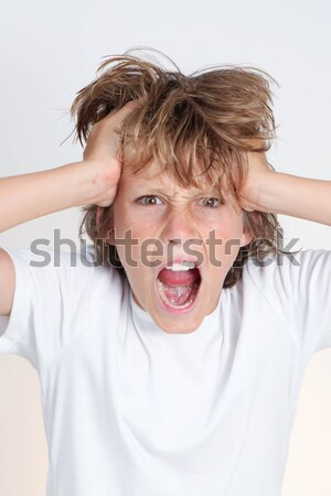 frustration, angry frustrated kid shouting Stock photo © godfer