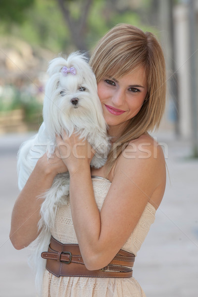 young woman with pet Maltese dog Stock photo © godfer