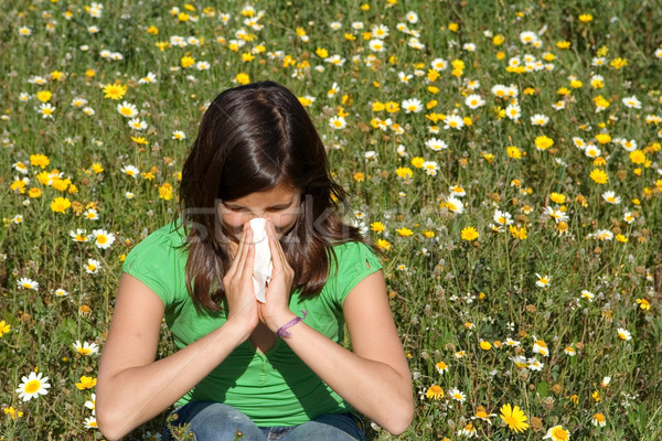 child with allergy, hayfever or cold Stock photo © godfer