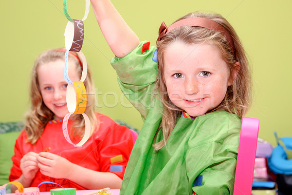 children or kids playing art and craft Stock photo © godfer