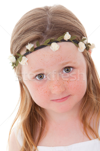 Szeplők gyermek aranyos kicsi ír virág Stock fotó © godfer
