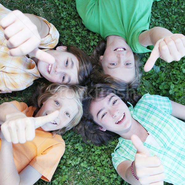Stock fotó: Csoport · gyerekek · remek · gyerekek · fű · boldog