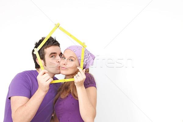 Pár vásárol új otthon ház nő férfi Stock fotó © godfer