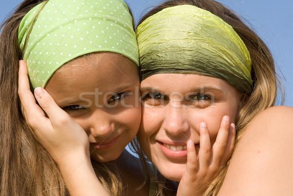 Gelukkig gezin gezichten moeder kind vrouw kinderen Stockfoto © godfer