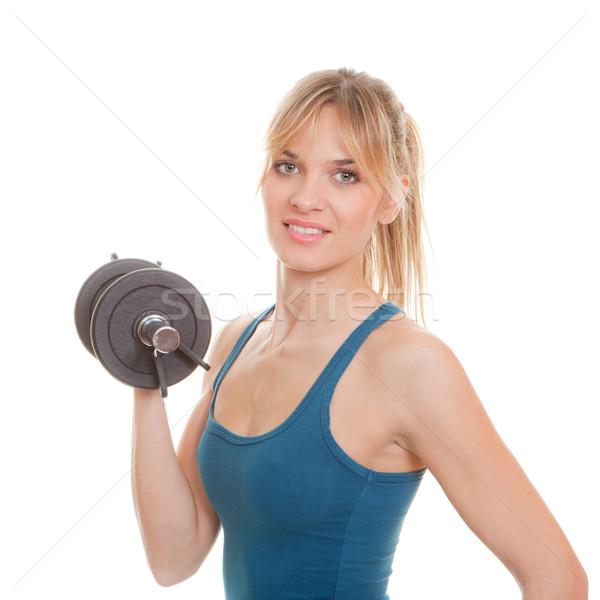 Nő súlyok testmozgás fitt egészséges testmozgás Stock fotó © godfer
