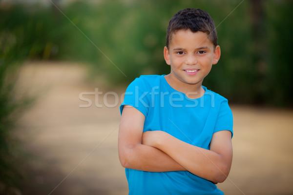 Koyu esmer çocuk İspanyolca güney amerika gülen erkek Stok fotoğraf © godfer