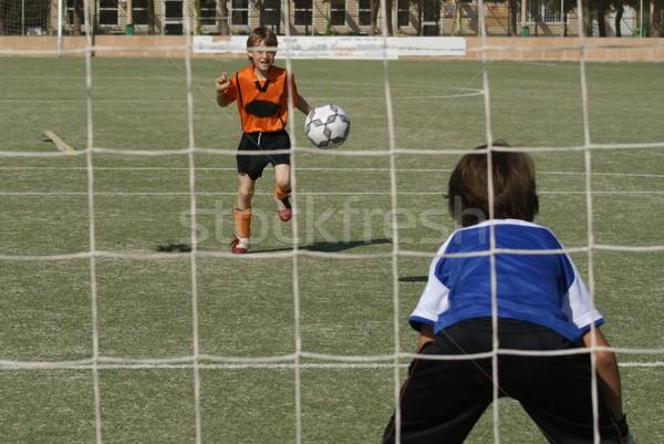 Gyerekek játszanak futball futball játék gyerekek sport Stock fotó © godfer