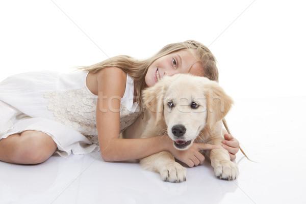 Kind spelen huisdier hond jonge familie Stockfoto © godfer