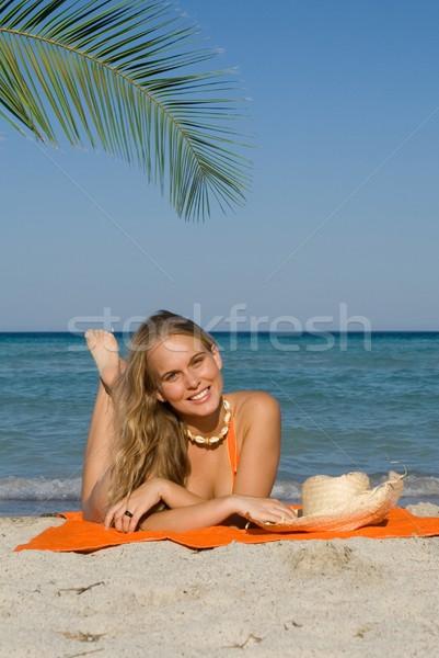 Stock fotó: Boldog · nő · napozás · tengerpart · nyári · vakáció