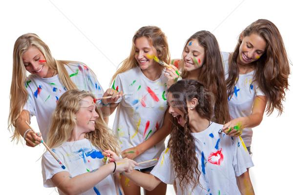 Grup çocuklar dağınık boya gençler Stok fotoğraf © godfer