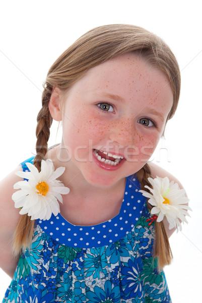 Gyermek mosoly aranyos mosolyog kislány fonatok Stock fotó © godfer