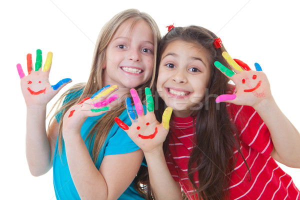 happy kids playing paint Stock photo © godfer