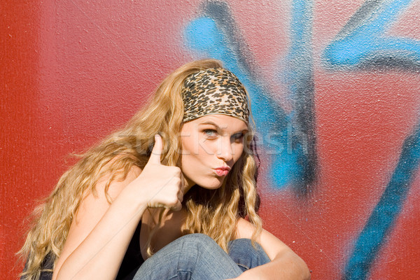 Teen pouce up succès accord Photo stock © godfer