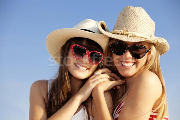 Stockfoto: Zomer · tieners · vakantie · strand · gelukkig · kinderen