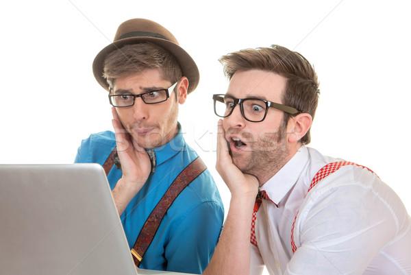 Néz laptop számítógép üzlet számítógép internet férfi Stock fotó © godfer