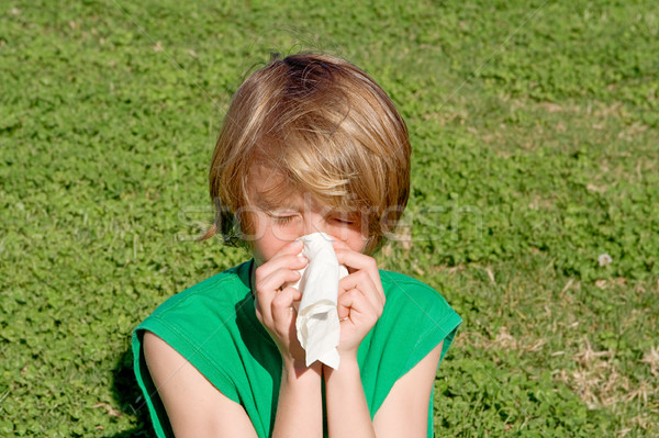 child with hay fever allergy sneezing and blowing nose outdoors Stock photo © godfer