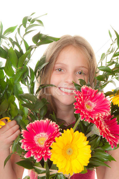 kid with boquet of flowers Stock photo © godfer